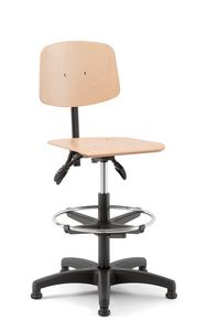 Woody 03, Swivel stool with wooden seat