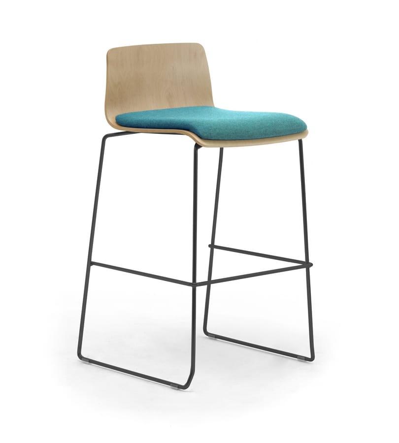 Zerosedici Wood stool, Stool with metal sled base