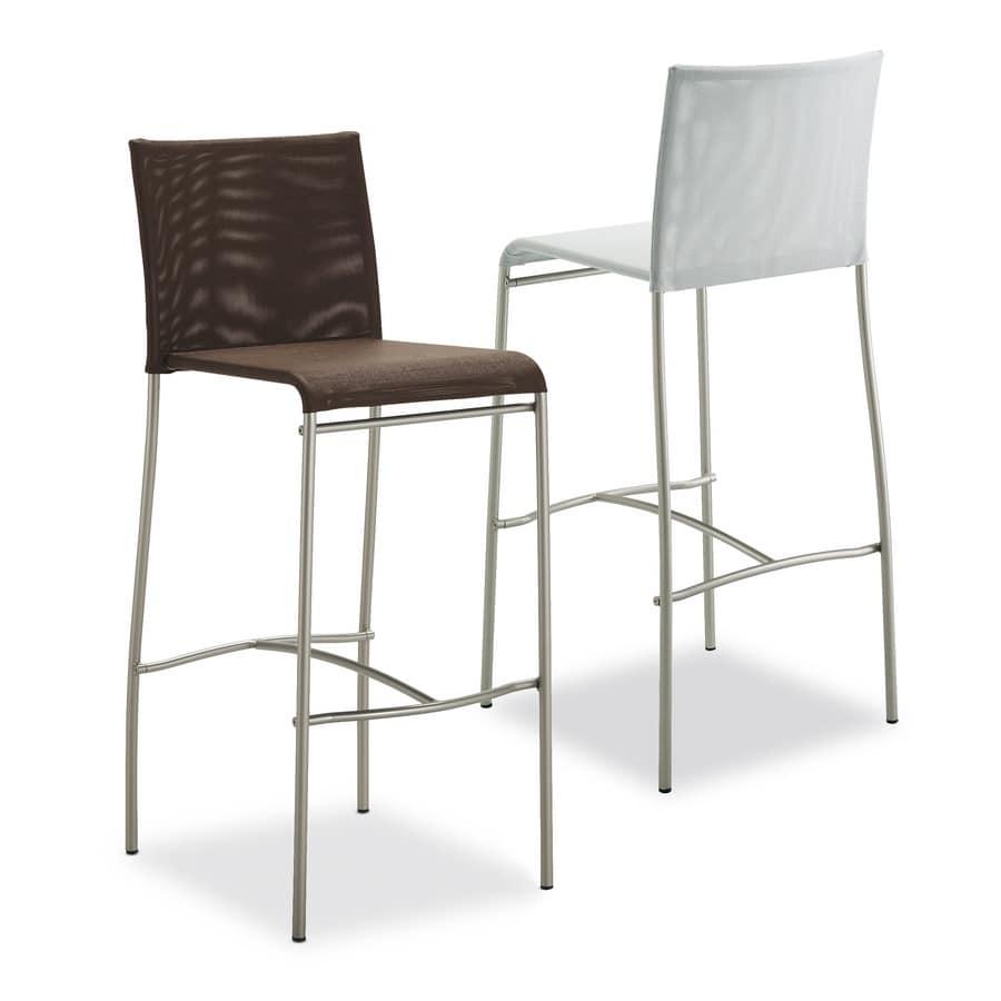 Art. 548 Matrix, Metal stool, with seat in pvc net