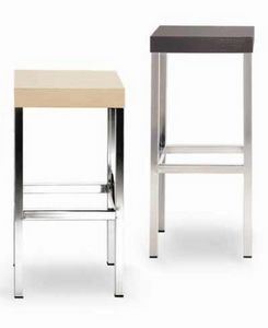 Cube-L, Metal stool, with square wooden seat