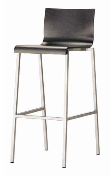 Kuadra-SGA SGB, Metal stool with wooden shell