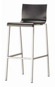 Kuadra-SGA SGB, Metal stool with wooden shell
