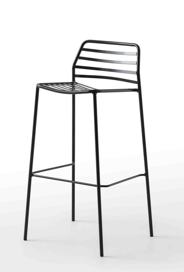 Link ST, Design barstool made all of metal, for outdoors