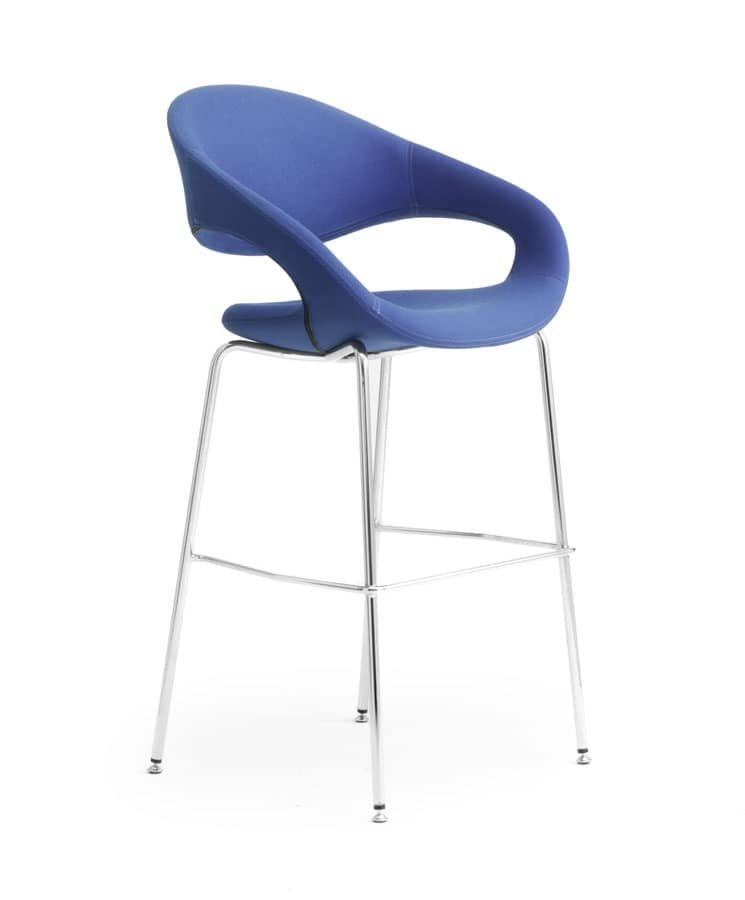 Samba stool, Stool in metal with upholstered seat for bar and kitchen