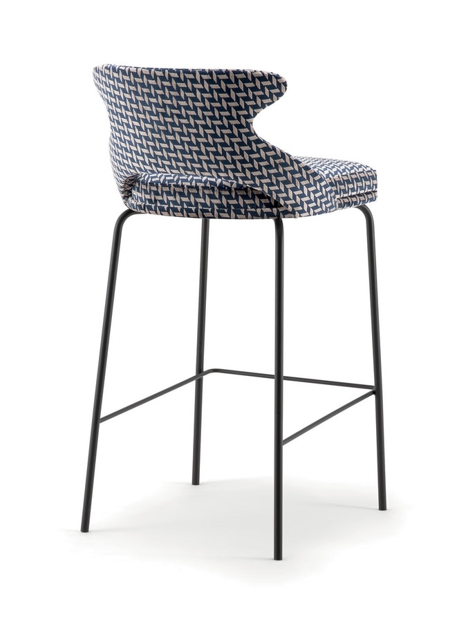 WINGS BARSTOOL WITH METAL BASE 076 SGL, Stool with metal base