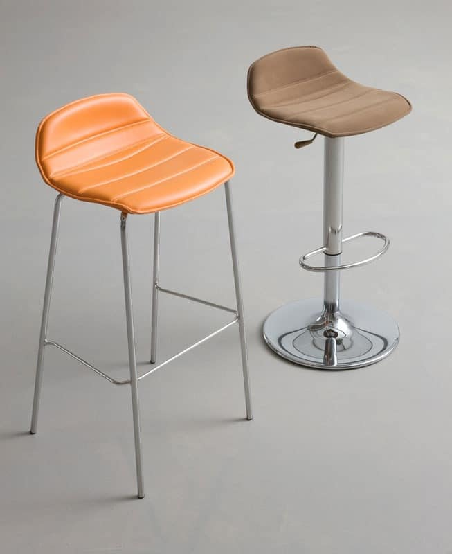 Alhambra Stool 67/77 dress, Design barstool with seat made of polymer coated synthetic leather