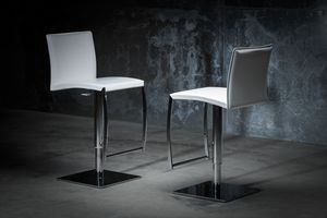 ART. 251/A DIAMOND STOOL, Barstool with base metal, leather seat and backrest