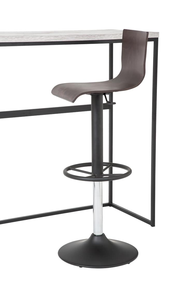 Art.Lory/Reg, Steel barstool with round base, seat and back in wood, swivel gas lift, for contract use