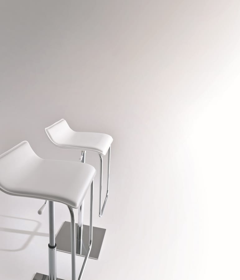 Asolo, Minimal barstool with metal base, leather seat