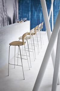 Blog Stool 68, Metal barstool with seat made of polymer, for Hotel