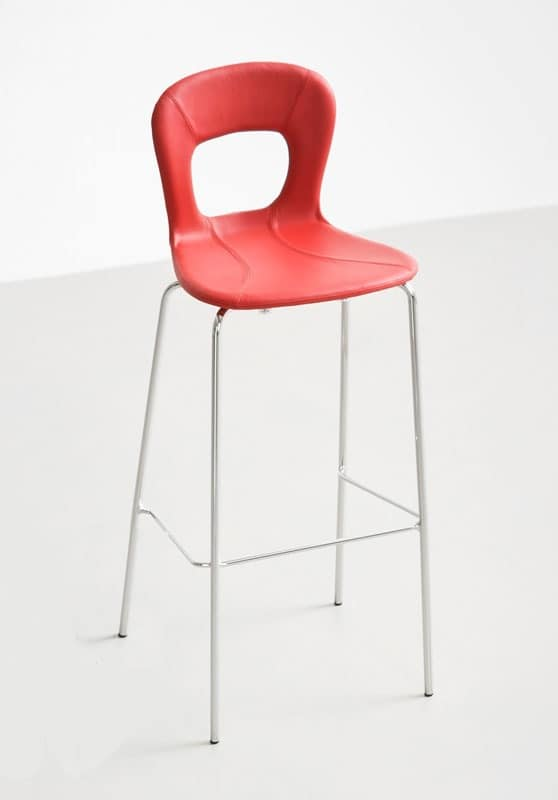 Blog Stool UPH 68, Design barstool with shell in leather, for modern kitchens