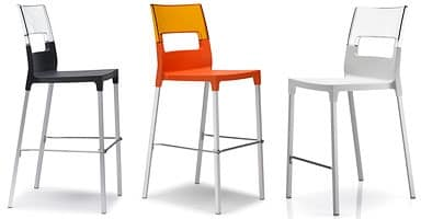Diva stool h.65 / h.75, Stackable barstool made of plastic and aluminum