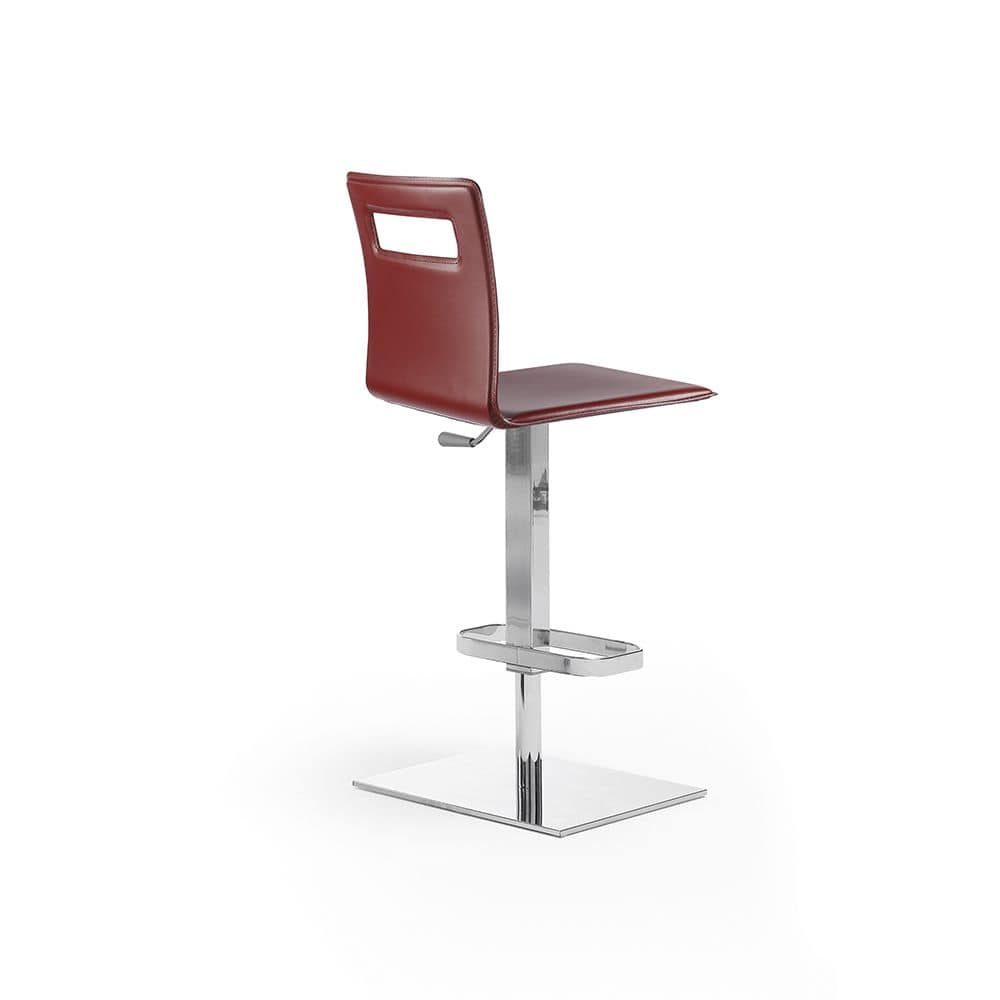 Duck SG, Stool covered with leather, height adjustable with gas lift