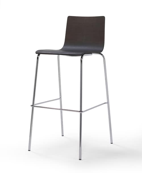Tesa wood ST, Stool with metal base, stackable, for bar and kitchen