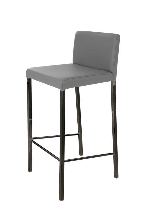 Follina stool black chrome, Chrome metal stool suited for bar