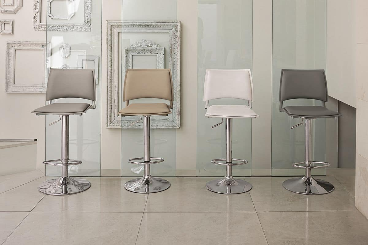 HAPPY SG173, Modern stool with chrome base and footrest