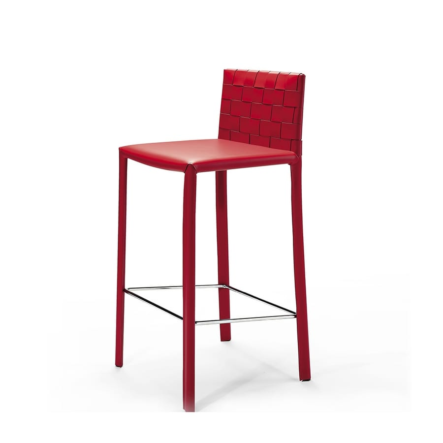 Agata woven SG, Barstool fully covered in leather, for contract use