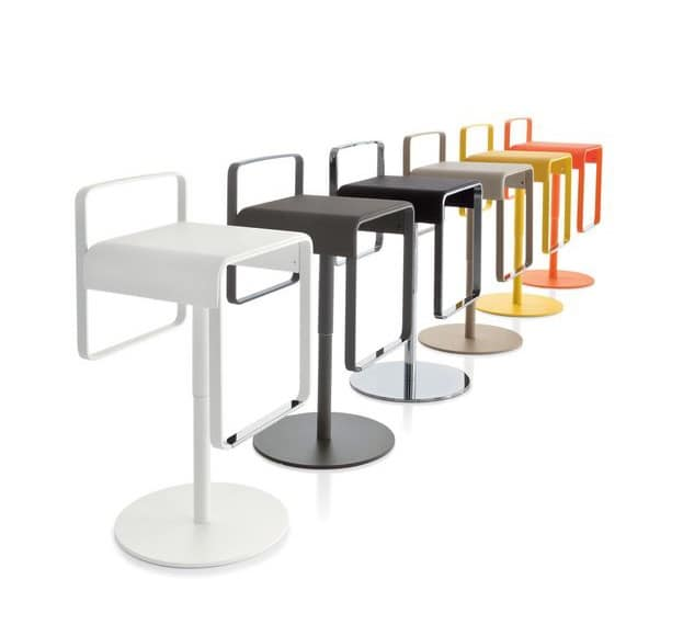 Kyro, Metal stool with upholstered seat for bars and kitchens