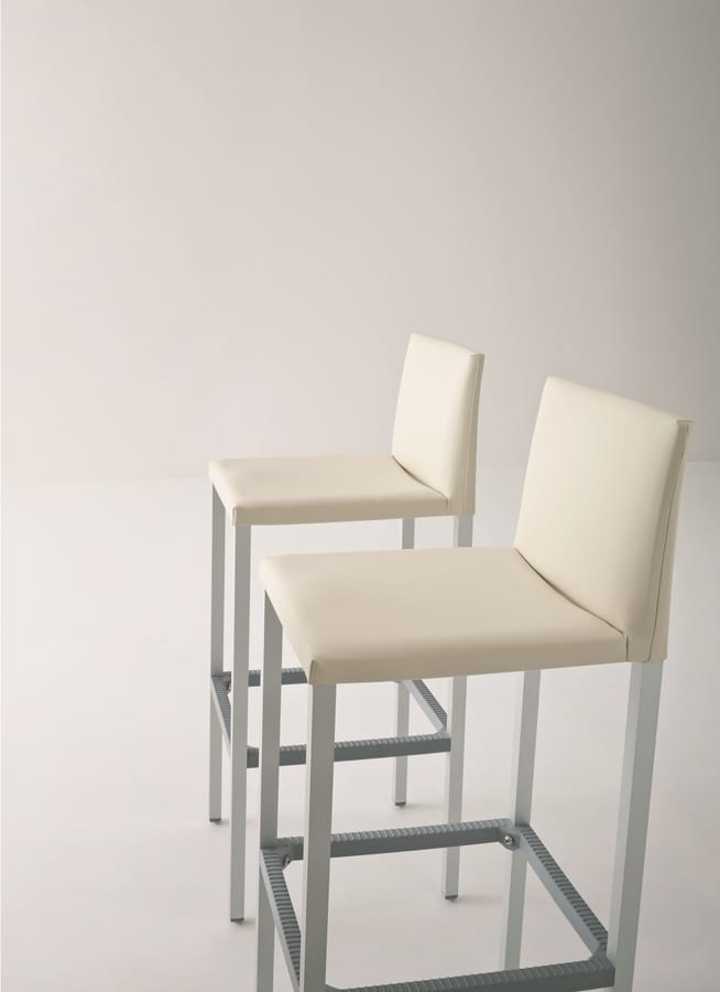 Milano 75, High stool in aluminum, seat and back covered