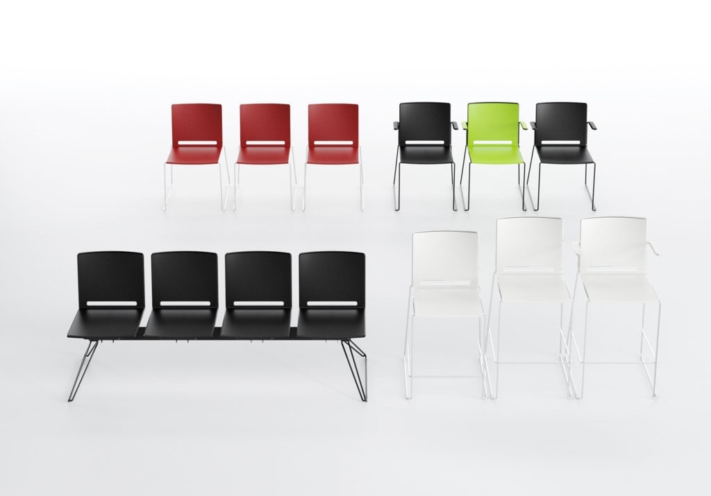 Multi sg with arms, Stackable stool with armrests, slide base, for bars