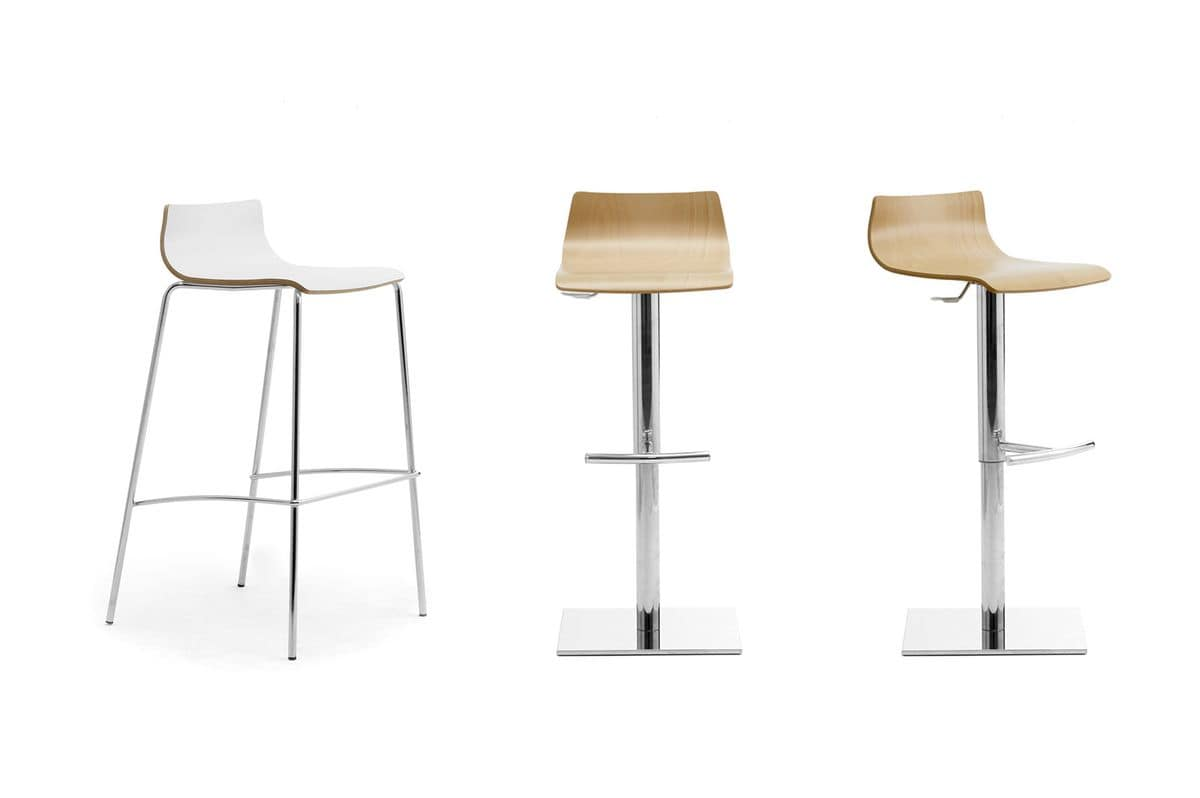 My Stool, Stackable stool with wooden seat, for bars