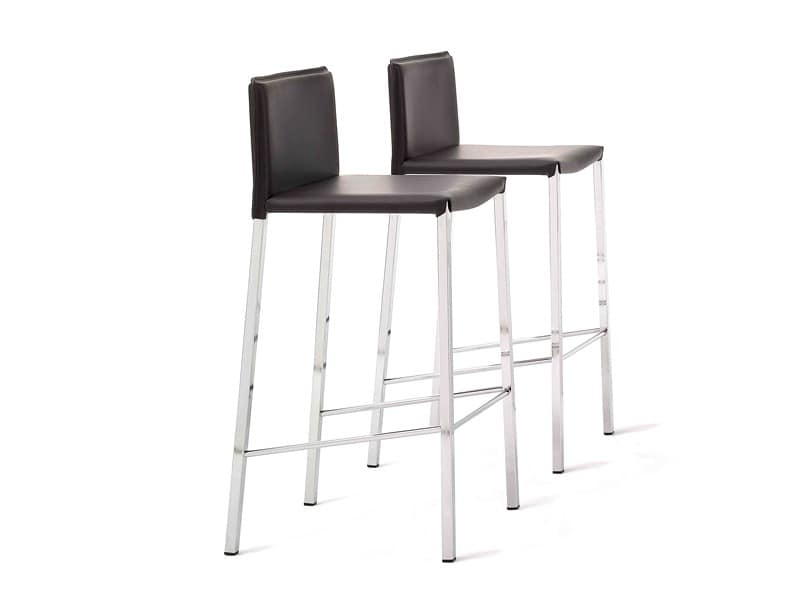 Ninfea Q SG, Barstool with base in square tube, in leather, for kitchens