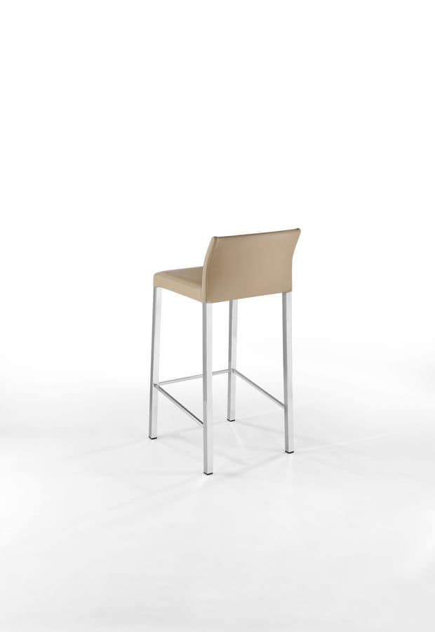 Orchidea SG, Barstool in chromed steel fro bar, leather-wrapped