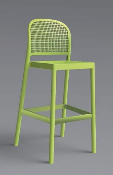 Panama Stool, Barstool with backrest in modern style, for outdoor side