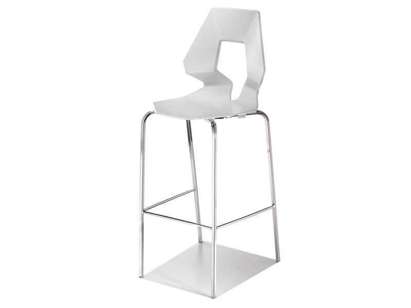 Prodige ST, Modern barstool in polymer and metal, perforated back