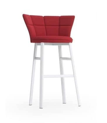 Sector ST, Modern stool for bar, oval tube, padded seat