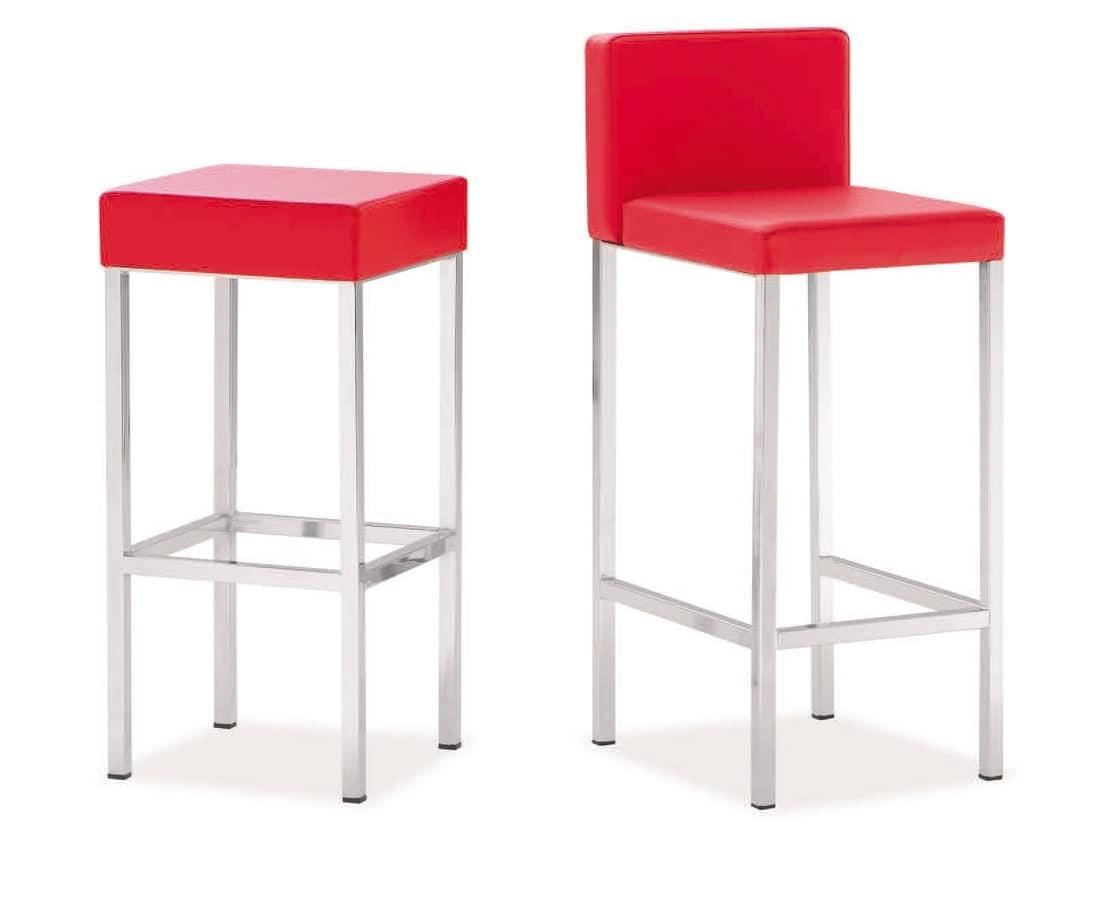 SG 011, Chrome metal barstool, upholstered seat, for kitchen