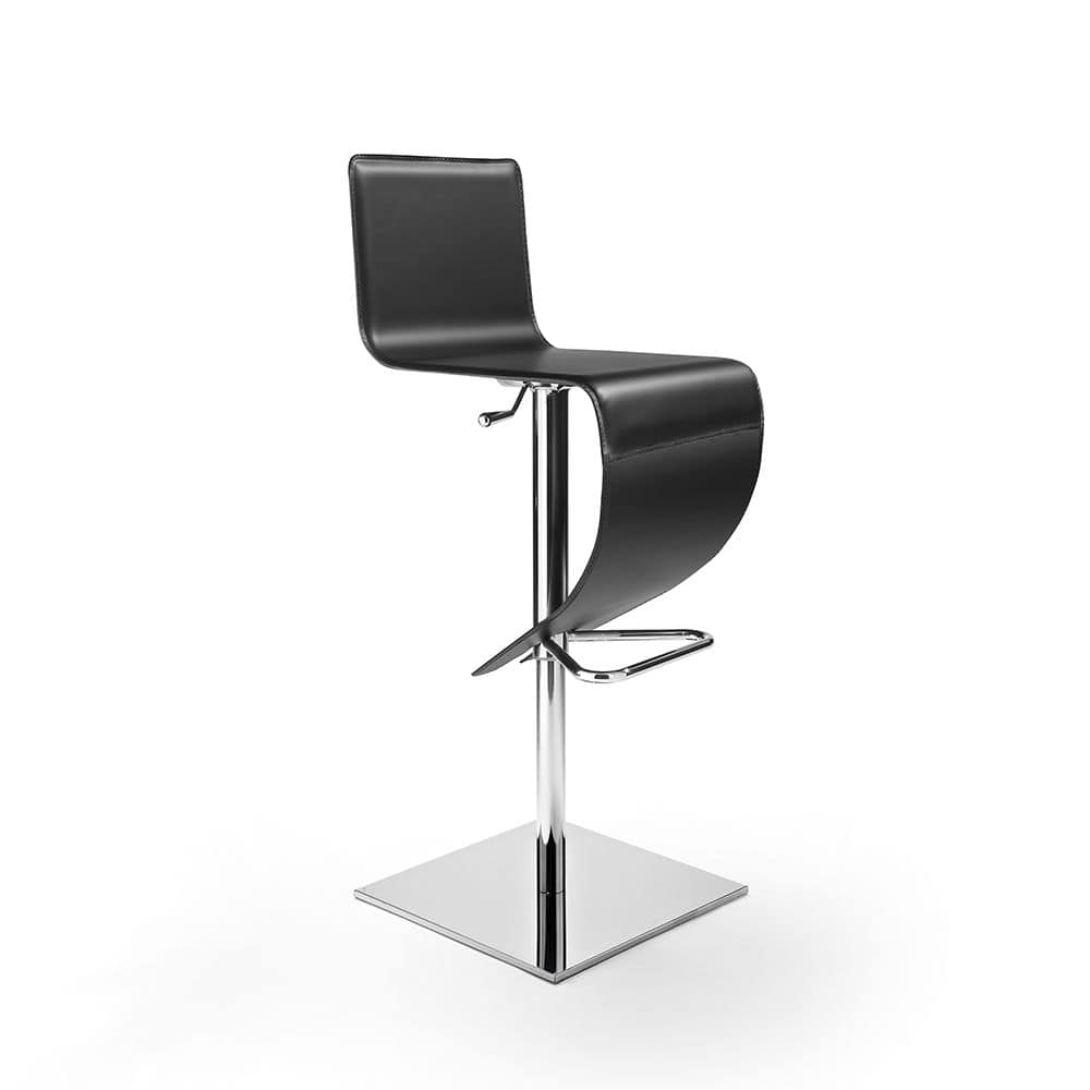 Stella Q SG, Leather stool with chromed base, adjustable height