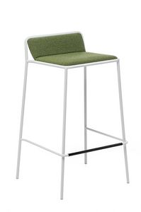 Tres ST, Lightweight metal stool, upholstered shell, for bars