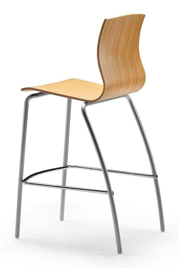 WEBWOOD 353 H, High stool with metal base, wooden shell