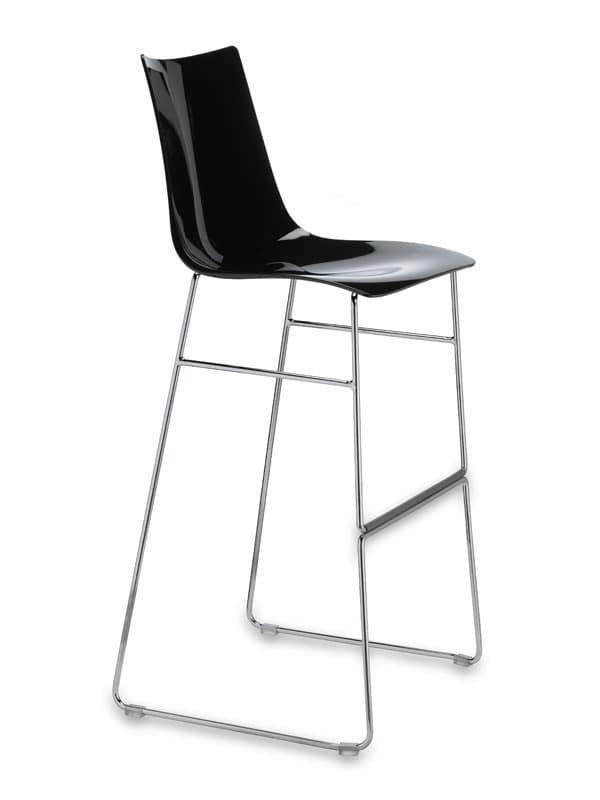 Zebra barstool antishock sled base H80, Stool made of metal and polycarbonate, fixed seat