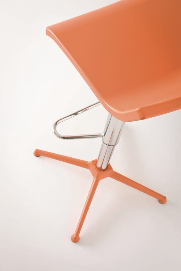 Over ST, Adjustable modern barstool, in chromed steel