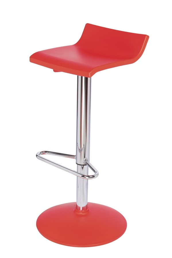 Over T, Linear adjustable barstool with chromed steel base