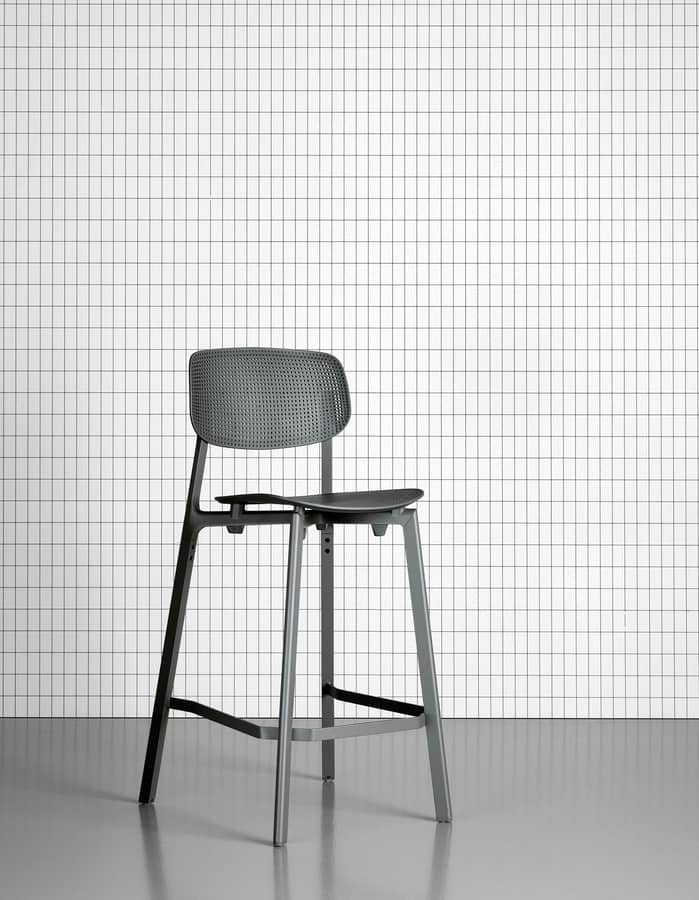 Colander Stool, Stackable stool in lacquered aluminum and polypropylene