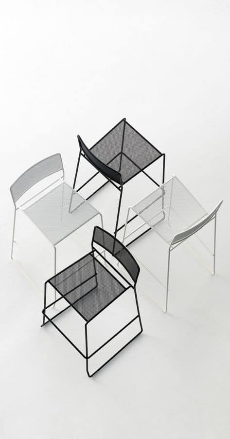 Log mesh ST, Metal stool with linear design, suitable for outdoor use, stackable