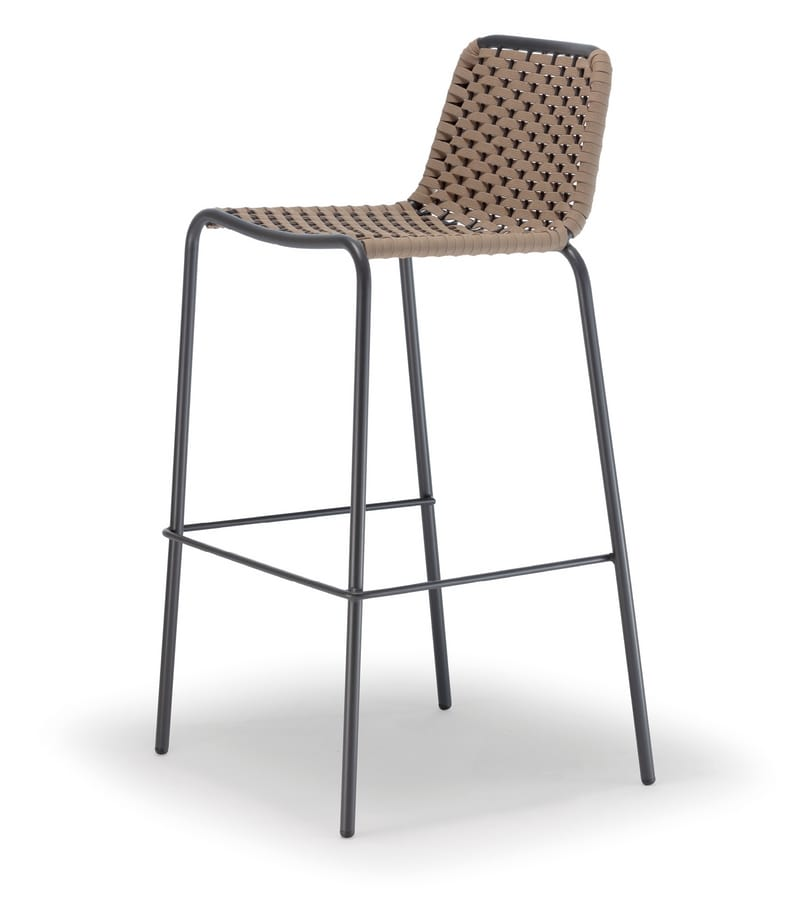 MARCI SGABELLO, Braided stool with footrest