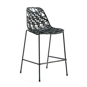 Nett 65-73-82/4L, Barstool in metal, plastic mesh shell, Outdoor use