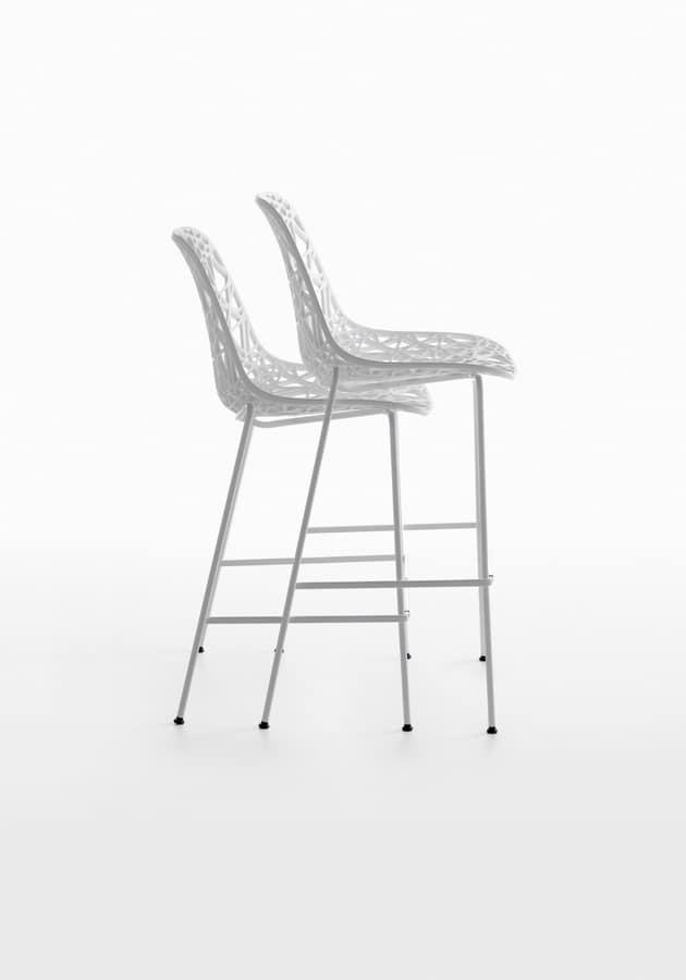 Nett 65-73-82/4L, Barstool in metal, plastic mesh shell, Outdoor use