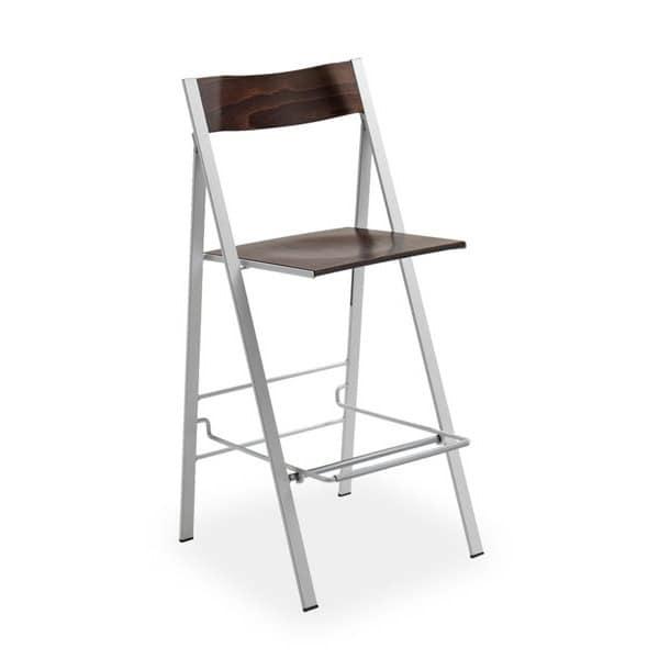 Pocket wood ST, Folding stool, space-saving, for kitchen furnishing