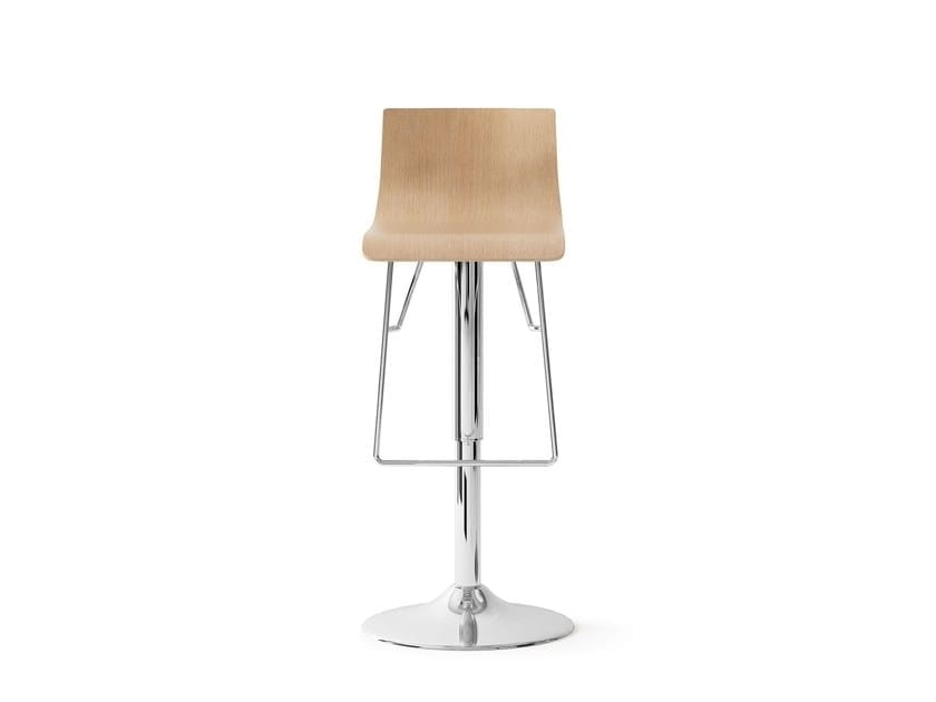 UPPER, Stool in natural varnished beech, adjustable in height