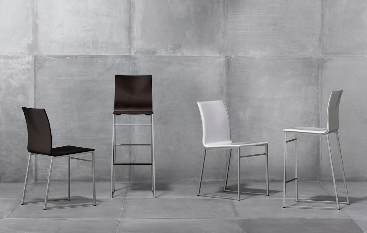 Sg. MELISSA, Stool in metal covered with bonded leather