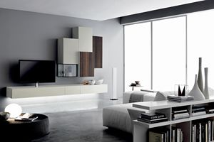 GRAPHOS GLASS 133, Living room wall in oak and glass