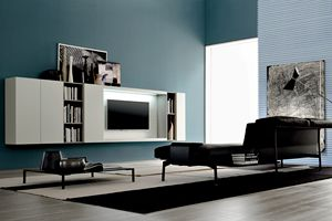 GRAPHOS WIDE 136, Wall system with TV stand and LED light