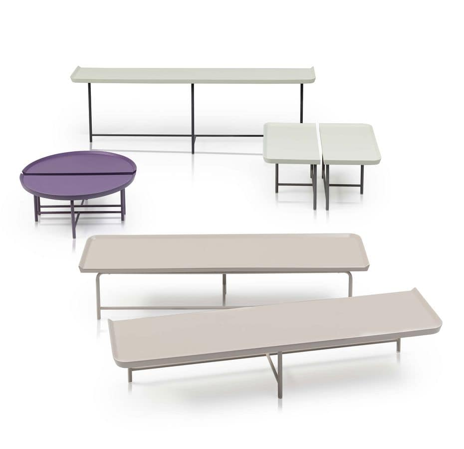 1+1, Modular coffee table, in lacquered metal