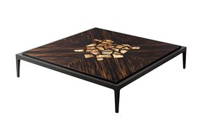 702101 Zarafa, Coffee table in linden and ebony, with briarwood inserts