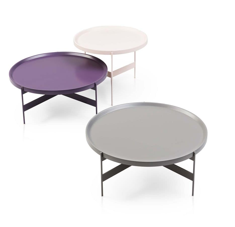 Abaco, Round small tables in metal, in various finishes